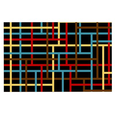 Trebam Veza Modern Lines Doormat Color: Red/Yellow