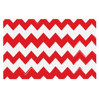 Candy Cane Chevron Doormat Color: Red