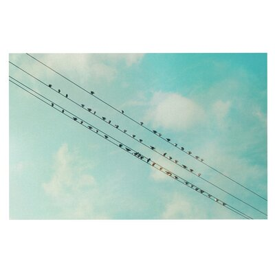 Sylvia Cook Birds on Wires Sky Doormat