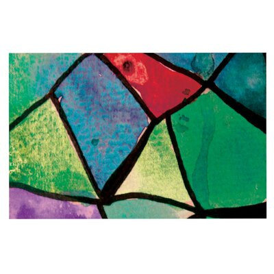 Theresa Giolzetti Stain Glass Doormat Color: Aqua Green/Blue