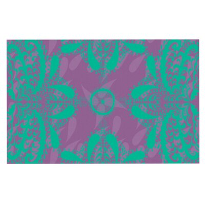 Nandita Singh Motifs Floral Doormat Color: Green/Purple