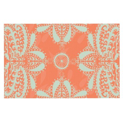 Nandita Singh Motifs Floral Doormat Color: Peach/Orange