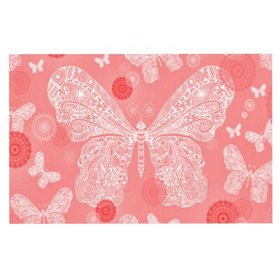 Monika Strigel Butterfly Dreams Doormat Color: Coral/White