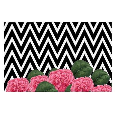 Suzanne Carter Camellia Chevron Flower Doormat