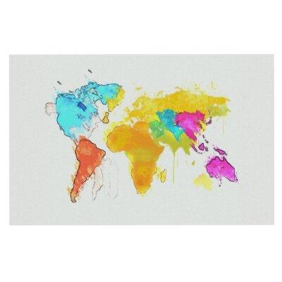 Oriana Cordero World Map Rainbow Doormat