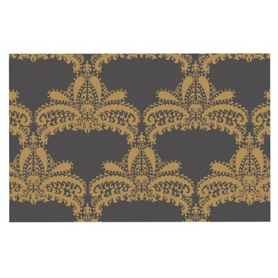 Nandita Singh Motif Floral Doormat Color: Gold