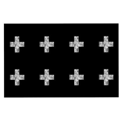 Swiss Cross by Skye Zambrana Fleece Throw Blanket Color: Black, Size: 60 H x 50 W x 1 D