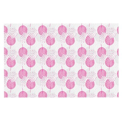 Apple Kaur Wild Summer Dandelions Circles Doormat Color: Pink/Gray