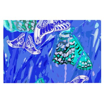 Vikki Salmela Butterflies Party Doormat Color: Blue