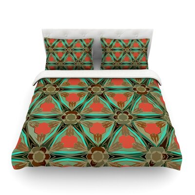 Moorish by Alison Coxon Featherweight Duvet Cover Color: Orange, Size: Queen