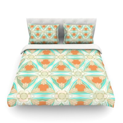 Moorish by Alison Coxon Featherweight Duvet Cover Size: Queen, Color: White