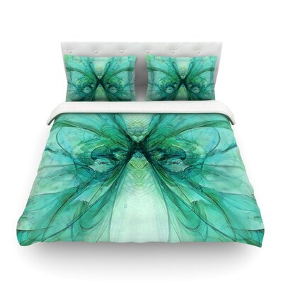 Butterfly by Alison Coxon Featherweight Duvet Cover Color: Blue/Green, Size: Queen