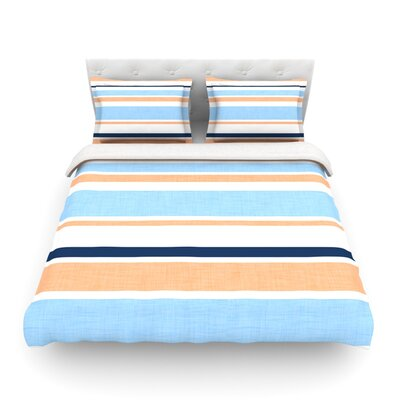 Jack Tar by Alison Coxon Featherweight Duvet Cover Color: Blue/Orange, Size: Queen, Fabric: Cotton