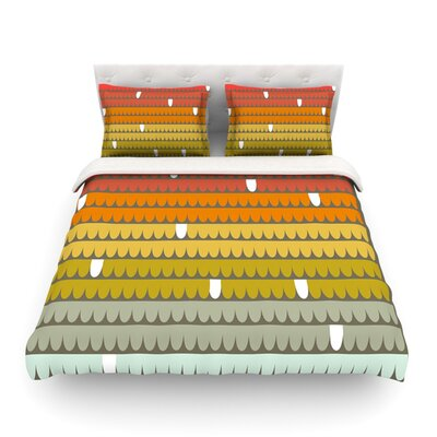 Scallops by Pellerina Design Featherweight Duvet Cover Color: Red/Orange, Size: King/California King