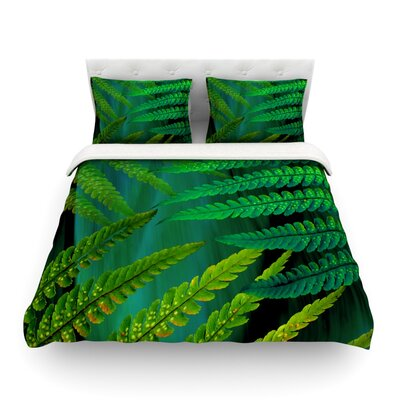 Forest Fern by Alison Coxon Featherweight Duvet Cover Color: Green, Size: King/California King, Fabric: Lightweight Polyester