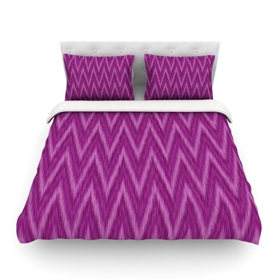 Plum Chevron by Amanda Lane Featherweight Duvet Cover Size: Twin