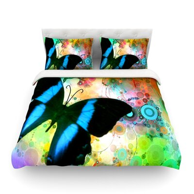 Colorful Blue Light by alyZen Moonshadow Butterfly Featherweight Duvet Cover Size: Twin, Fabric: Lightweight Polyester