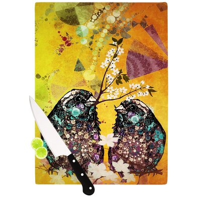 "Birds In Love by alyZen Moonshadow Cutting Board Size: 0.5"" H x 11"" W x 7.5"" D, Color: Yellow/Orange AM1005ACB01"