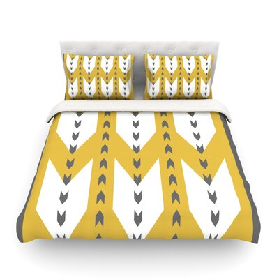 Golden Aztec by Pellerina Design Featherweight Duvet Cover Size: Twin, Fabric: Lightweight Polyester