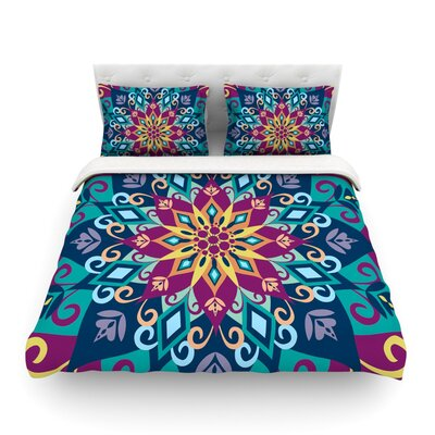 Blooming Mandala by Amanda Lane Featherweight Duvet Cover Size: Queen, Fabric: Lightweight Polyester