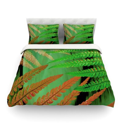 Forest Fern by Alison Coxon Featherweight Duvet Cover Size: Queen, Color: Russet Green/Brown, Fabric: Cotton