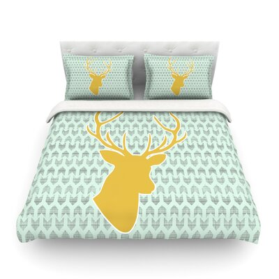 Deer by Pellerina Design Featherweight Duvet Cover Size: Queen, Color: Yellow/Green
