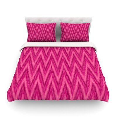 Berry Chevron by Amanda Lane Featherweight Duvet Cover Size: Twin, Fabric: Woven Polyester