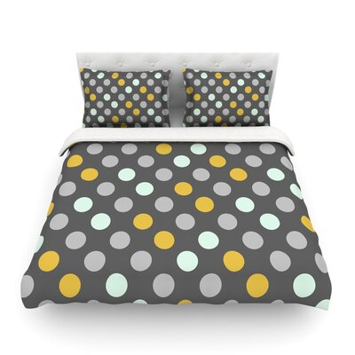 Minty Polka by Pellerina Design Featherweight Duvet Cover Size: Queen, Fabric: Lightweight Polyester