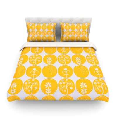 Dotty Papercut by Anneline Sophia Circles Featherweight Duvet Cover Size: King/California King, Color: Yellow/Gray Size: King/California King, Color: Yellow/Gray