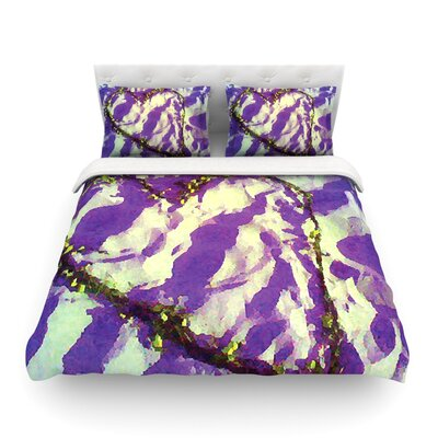 Tiger Love by Anne LaBrie Featherweight Duvet Cover Size: King/California King, Color: Purple/Yellow