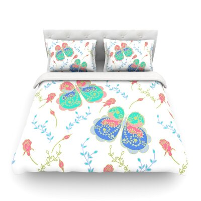 Leafy Butterflies by Anneline Sophia Featherweight Duvet Cover Size: Queen, Color: Red/Aqua, Fabric: Lightweight Polyester