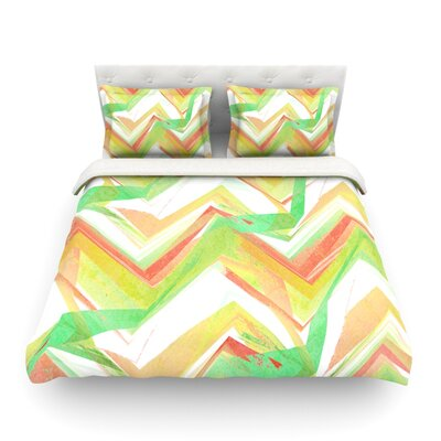 Summer Party Chevron by Alison Coxon Featherweight Duvet Cover Size: King/California King