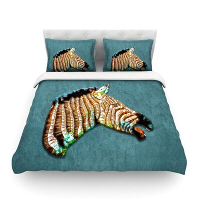 Laughing Zebra by Ancello Featherweight Duvet Cover Size: Twin, Fabric: Lightweight Polyester