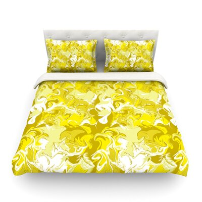 Marbleized by Anneline Sophia Featherweight Duvet Cover Color: Yellow, Size: King/California King