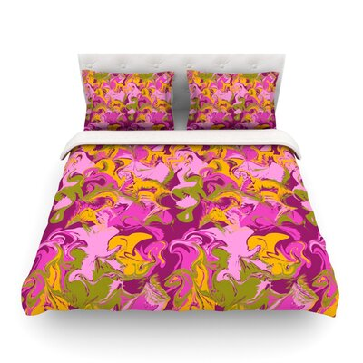 Marbleized by Anneline Sophia Featherweight Duvet Cover Size: Twin, Color: Pink/Purple