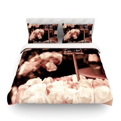 Paris Flower Market by Ann Barnes Roses Featherweight Duvet Cover Size: Twin, Fabric: Lightweight Polyester