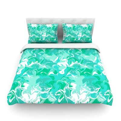 Marbleized by Anneline Sophia Featherweight Duvet Cover Size: Queen, Color: Teal
