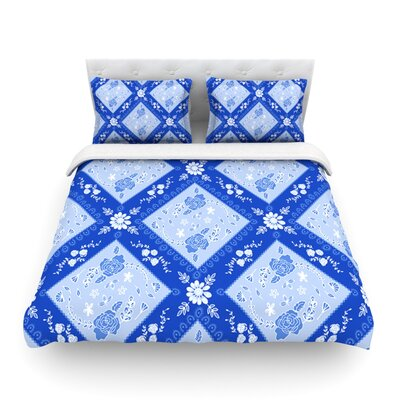 Diamonds by Anneline Sophia Featherweight Duvet Cover Size: Queen, Color: Blue/White, Fabric: Lightweight Polyester