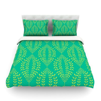 Laurel Leaf by Anneline Sophia Featherweight Duvet Cover Size: Twin, Color: Green/Teal, Fabric: Lightweight Polyester