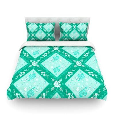 Diamonds by Anneline Sophia Featherweight Duvet Cover Size: Queen, Color: Green, Fabric: Lightweight Polyester