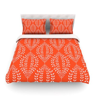 Laurel Leaf by Anneline Sophia Featherweight Duvet Cover Size: Twin, Color: Orange/Teal, Fabric: Lightweight Polyester
