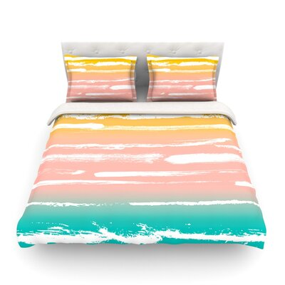 Painted Stripes Light by Anneline Sophia Featherweight Duvet Cover Color: Peach, Size: Queen, Fabric: Lightweight Polyester