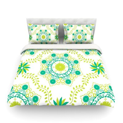 Lets Dance by Anneline Sophia Featherweight Duvet Cover Size: King/California King, Color: Red/Pink Size: Queen, Color: Green/Teal