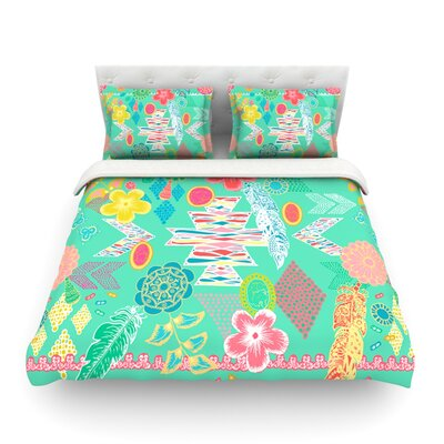 Aztec Boho by Anneline Sophia Featherweight Duvet Cover Color: Teal, Size: Queen, Fabric: Cotton