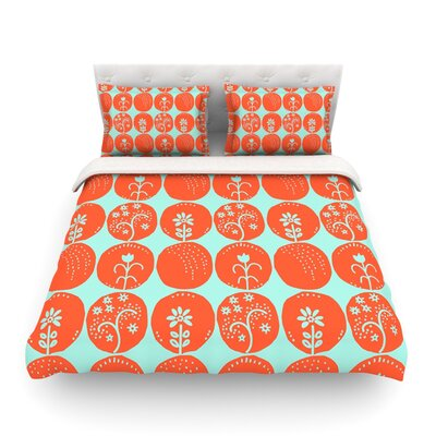 Dotty Papercut by Anneline Sophia Circles Featherweight Duvet Cover Size: King/California King, Color: Yellow/Gray Color: Orange/Teal, Size: King/California King