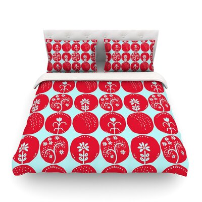 Dotty Papercut by Anneline Sophia Circles Featherweight Duvet Cover Size: King/California King, Color: Yellow/Gray Size: Queen, Color: Red/Blue