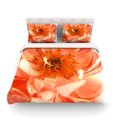 Blushing Peony by Pellerina Design Featherweight Duvet Cover Size: Twin, Fabric: Lightweight Polyester