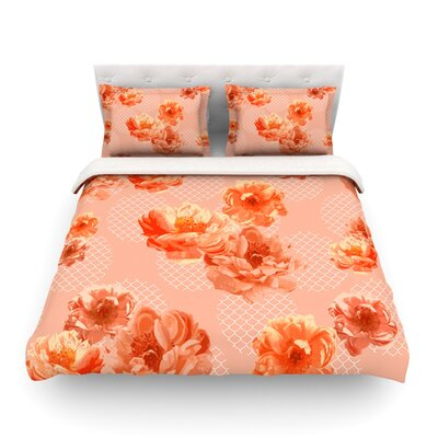 Lace Peony by Pellerina Design Featherweight Duvet Cover Size: King/California King, Color: Gray Color: Orange, Size: Queen
