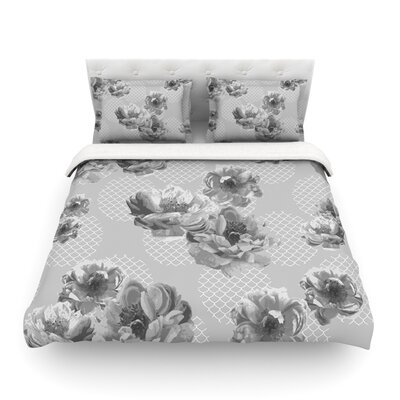 Lace Peony by Pellerina Design Featherweight Duvet Cover Size: King/California King, Color: Gray Size: Twin, Color: Gray