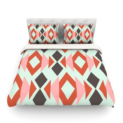Coral Mint Triangle Weave Light by Pellerina Design Featherweight Duvet Cover Fabric: Lightweight Polyester, Size: Queen